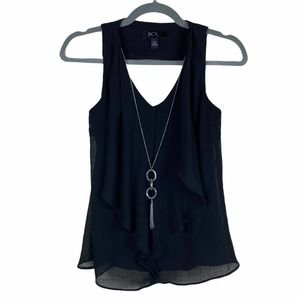 BCX Blouse Black Ruffled V Neck Blouse Necklace XS